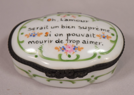 Beautiful Vintage Limoges Porcelain Pill Box Lovely Inscription on the Top