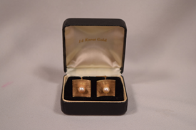 Vintage Marked 14K Gold and Pearls Cufflinks 11.9 Grams