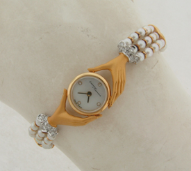 Carrera Y Carrera Round Shape With Hands 18K Pearls Band Diamonds Ladies Watch