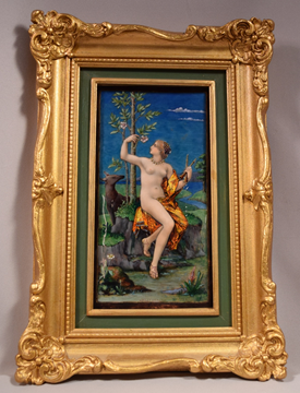 Beautiful Antique Signed A. Garnier French Enamel Plaque Depicting A Nude Lady