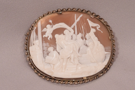 Superb large antique high relief carved cameo brooch Abduction Helen of Troy