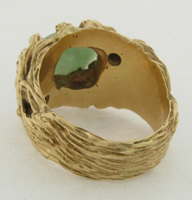 Natural Jade and Diamonds 14K Gold Ring 22.6 Grams