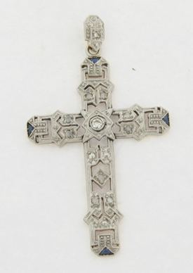 Art Deco Platinum and 18K Gold 10 Diamonds and 4 Sapphires Pendant Cross