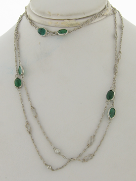 Art Deco Platinum Emeralds Diamonds Necklace 39 Inches long10 Emeralds 9 Diamonds