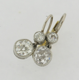 Beautiful Art Deco Cushion Cut Diamond Earrings TCW 2.04 Carats