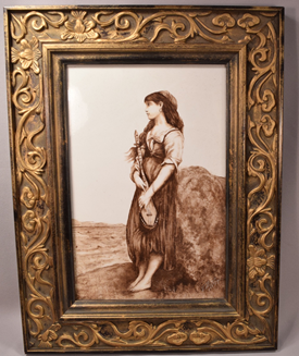 Antique Painting on Porcelain Plaque of a Gypsy, Continental, c. 1882