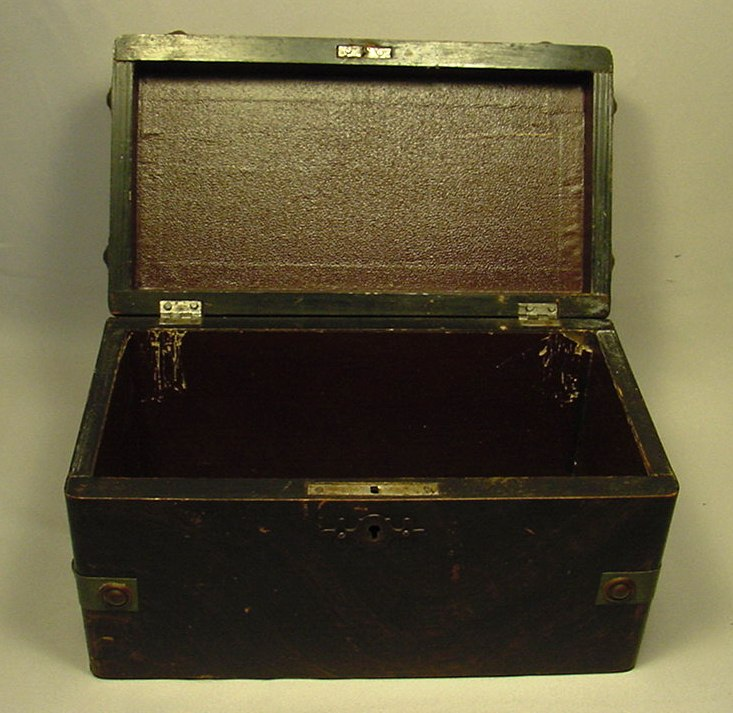 Large Antique Mixed Metal Wood Jewelry Box Ebay