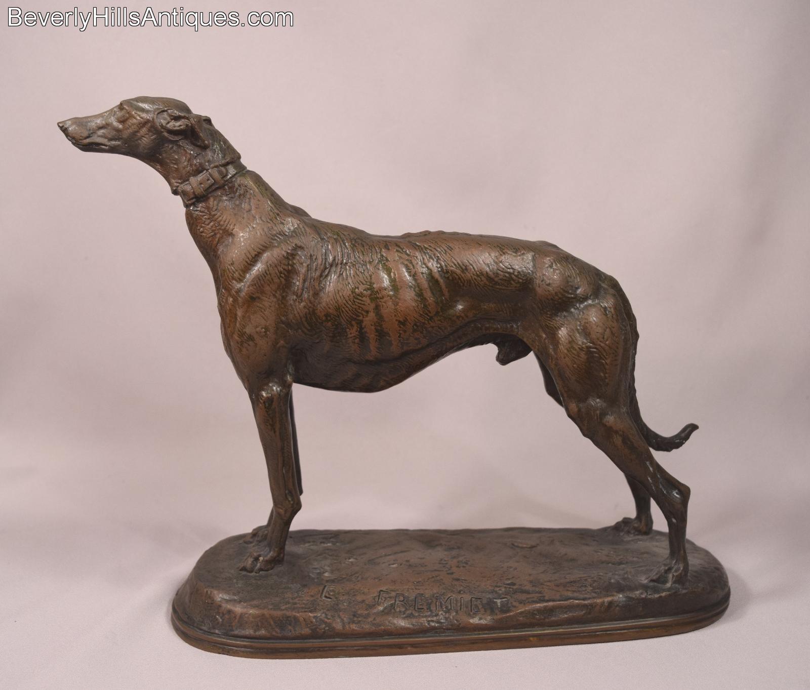 Bronzeskulptur Hund Windhund Bronze Skulptur Figur Greyhound Whippet Dog